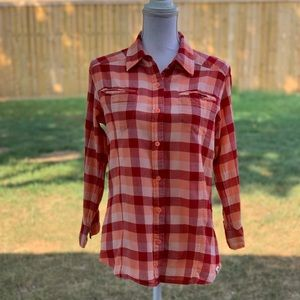 North Face Red Orange Plaid Organic Cotton Shirt L